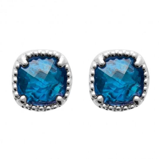 Boucles d'oreilles Argent massif rhodié Pierre de synthèse Bleue