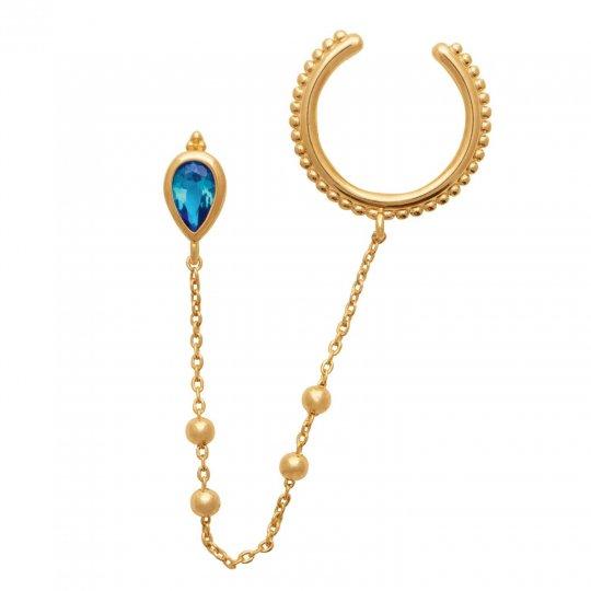 Bague d'oreille chaînette Plaqué or Pierre d'imit. Turquoise