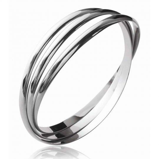 Jonc triple anneaux Argent Massif Rhodié - Femme - 66mm