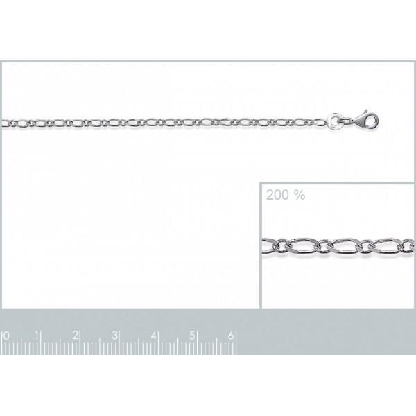 Catena de cou Figaro Argento Sterling 925 - Uomo/Donna - 40cm