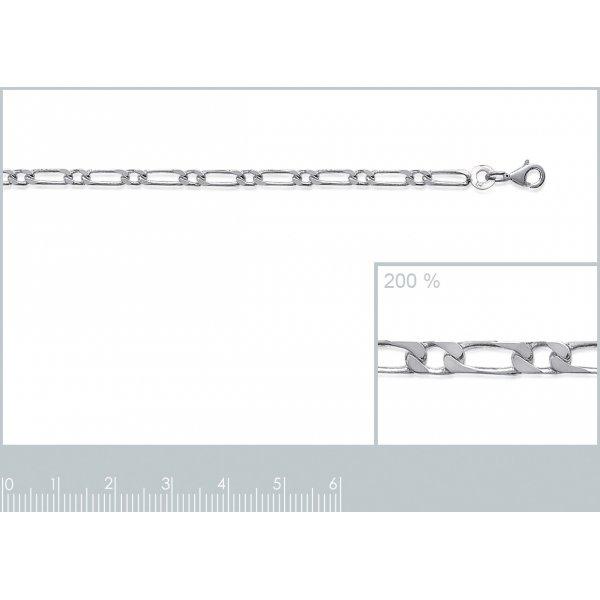 Catena Figaro Argento Sterling 925 Rodiato - Uomo/Donna - 50cm