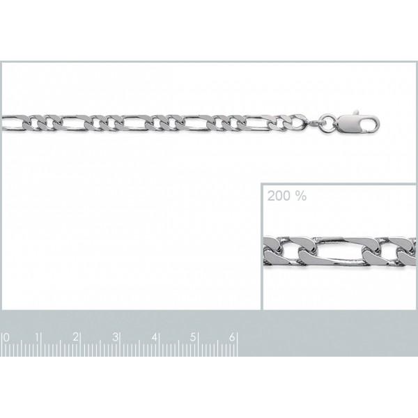 Bracciale Catena Figaro Argento Sterling 925 Rodiato - Uomo/Donna - 21cm