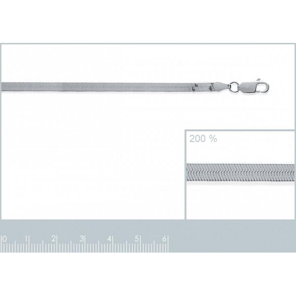 Bracelet chaîne Miroir Argent Massif Rhodié - Femme - 18cm