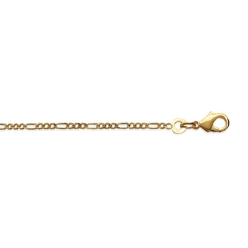 Pulsera Cadena Figaro Chapado en Oro 18K - Hombre/Mujer - 18cm