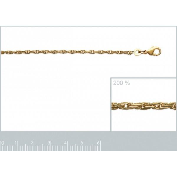 Bracelet chaîne Corde Plaqué Or - Femme - 18cm