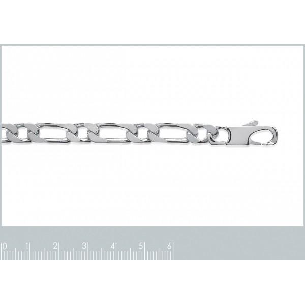 Bracelet chaîne Figaro Argent Massif Rhodié - Homme - 21cm