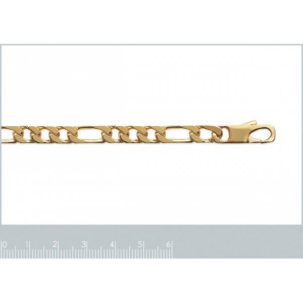 Bracelet chaîne Figaro Plaqué Or - Homme - 21cm