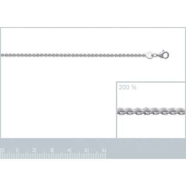 Bracelet chaîne Corde Argent Massif Rhodié - Femme - 18cm