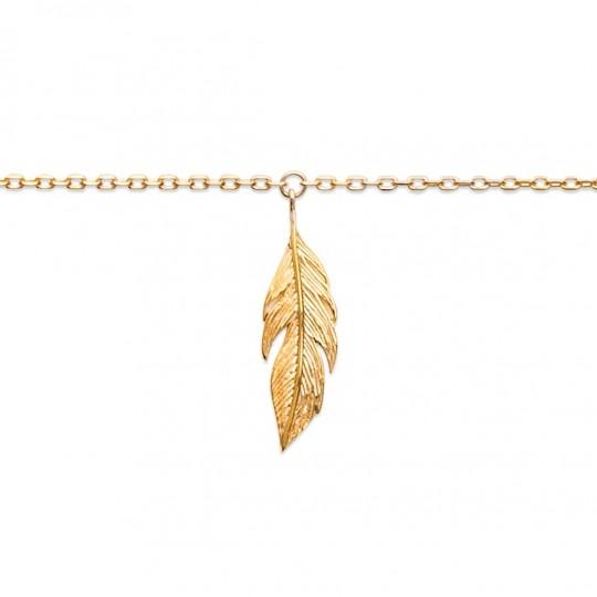 Cadena de tobillo Pluma Chapado en Oro 18K - Mujer - 25cm