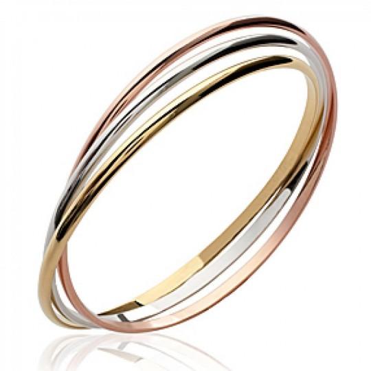 Jonc 3 anneaux Plaqué Or trois tons - 66mm