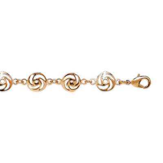 Bracelet Fleurs Roses Plaqué Or - Femme - 18cm