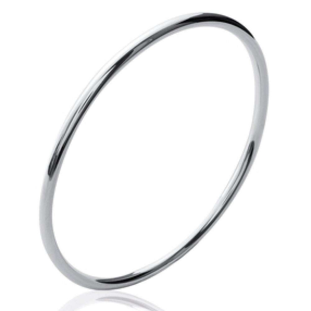Bangle Simple Rhodium plated Sterling Silver - Women - 58mm