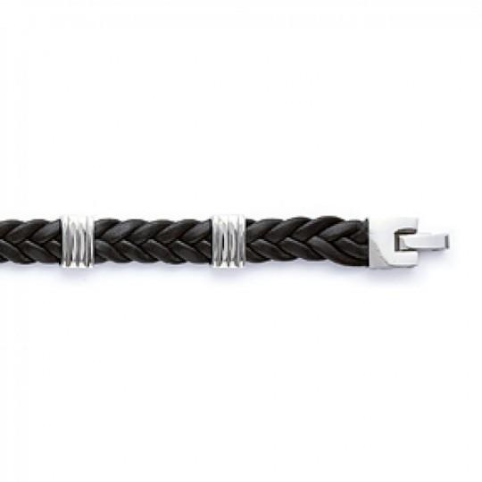 Bracelet Cuir tressé noir Acier 316L - Homme - 21cm