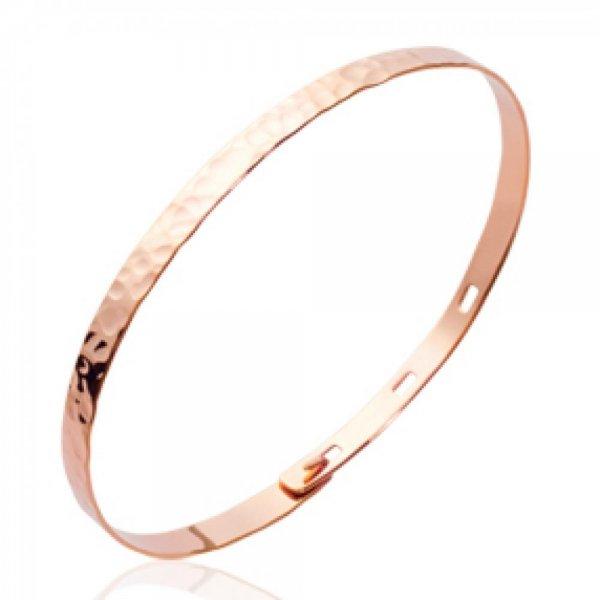 Bracciale Bangle Plat Martelé Placcato in oro 18k Rose - Dimensione Réglable 56mm max