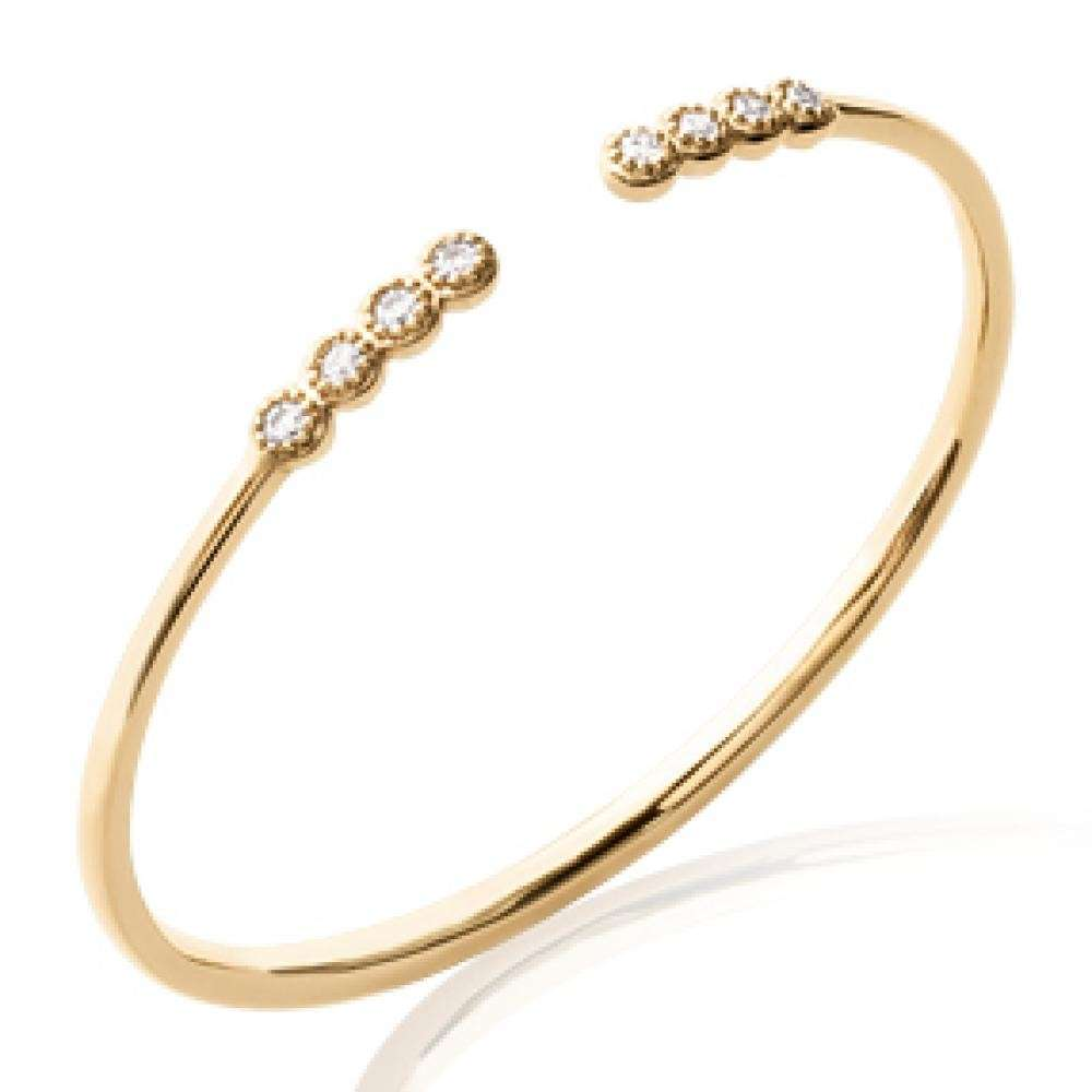 Bangle Ouvert Gold plated 18k - Ligne Cubic Zirconia - 56mm
