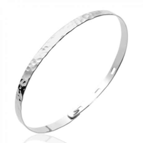 Bracciale Bangle Plat Martelé Argent - Donna - Dimensione réglable 56mm