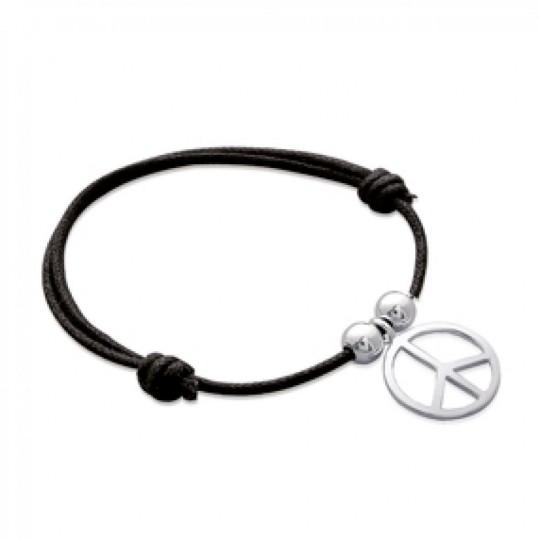 Bracelet cordon peace and love Argent Massif - Femme - 18cm
