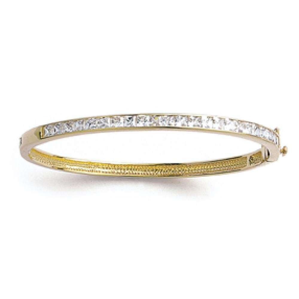 Bracciale Bangle Plat Placcato in oro 18k avec fermoir - Ligne de Zirconium - 60mm