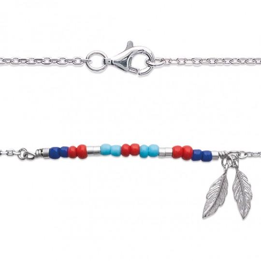Bracelet Bohémien multicolore Plumes Argent Rhodié - 16cm 18cm