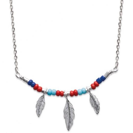 Halskette Bohémien multicolore Feders Argent Rhodié - 45cm