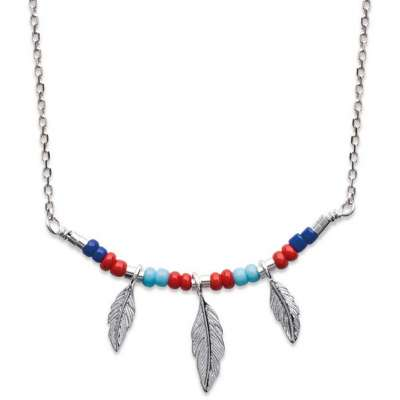 Necklace Bohémien multicolore Feathers Argent Rhodié - 45cm