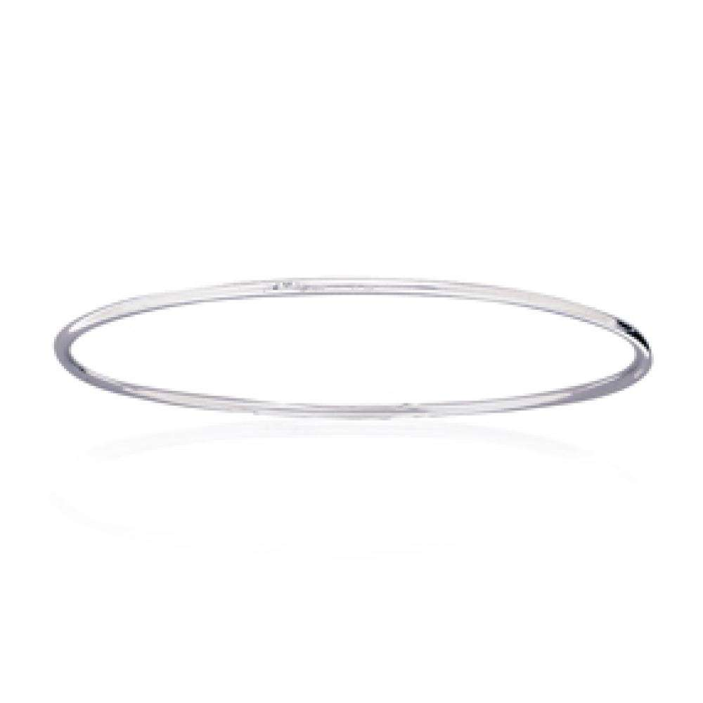 Bangle Simple Rhodium plated Sterling Silver - for Children - 58mm