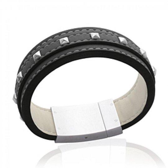Bracelet gothique cuir noir à pointes - Femme - 18cm