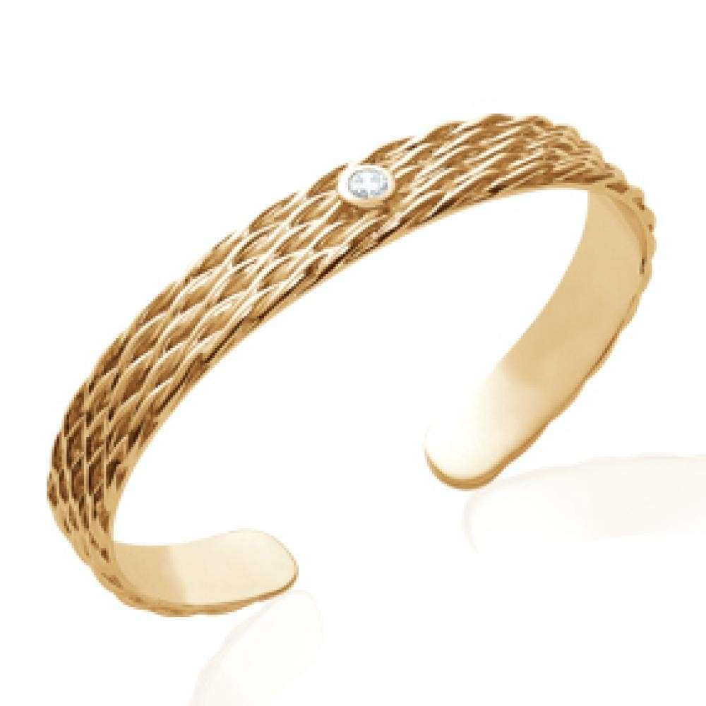 Bracciale Bangle Ouvert cordelette tressés Placcato in oro 18k - Pierre Zirconium - 58mm