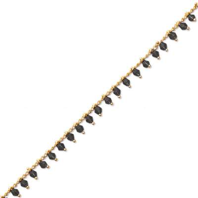 Bracelet Gipsy bohème Gold plated 18k - Crystal Black -...