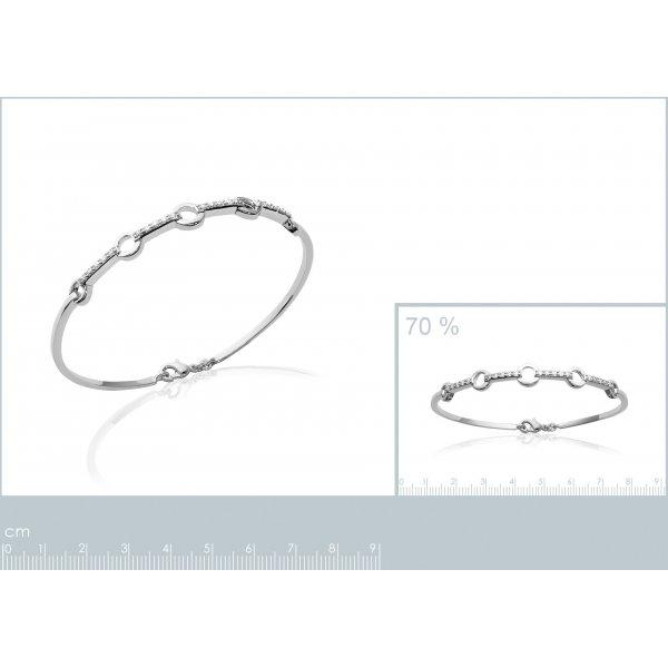 Jonc Petits anneaux Argent Rhodié - Oxyde de Zirconium - Femme - 62mm
