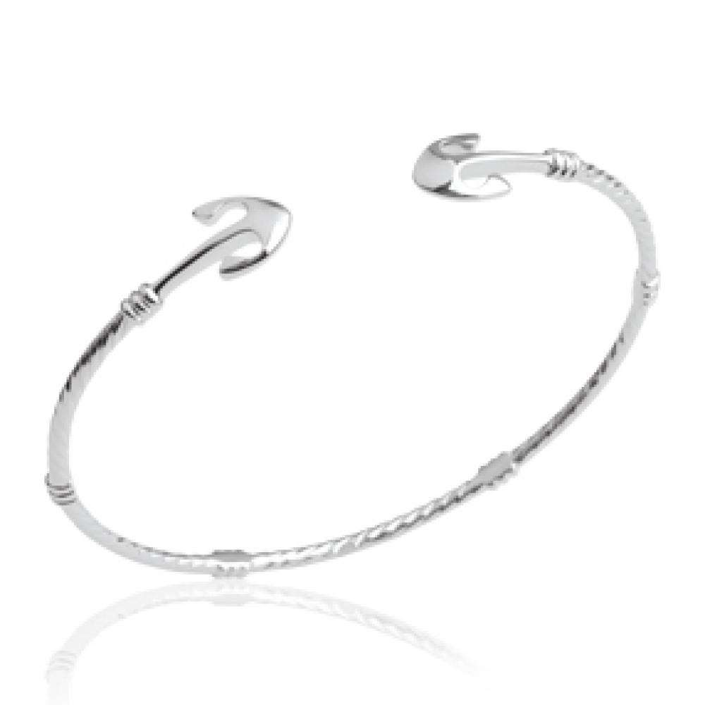 Bangle Anchor marine Ouvert Rhodium plated Sterling Silver - Women - 56mm