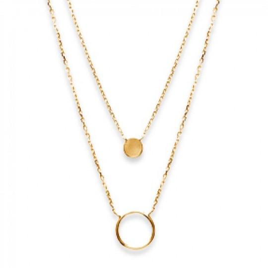 Double Collana Anneaux Placcato in oro 18k - Donna - 40cm