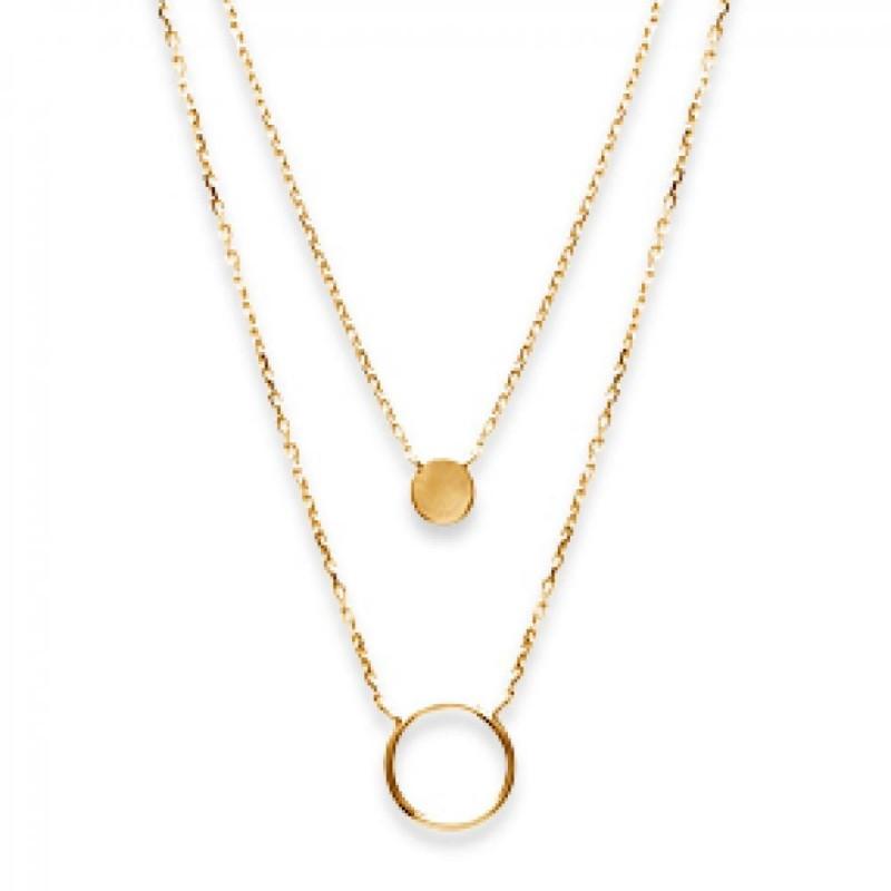 Double Necklace Anneaux Gold plated 18k - Women - 40cm
