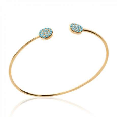 Bracciale Bangle Cercles en Pierres d'imitation Bleues Turquoises Placcato in oro 18k - Donna - 56mm