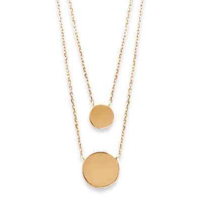Double Necklace Médaillons Engravables Gold plated 18k -...