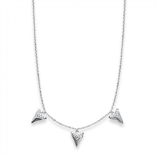 Collier 3 dents de requin Argent Rhodié - Oxyde de Zirconium - 45cm