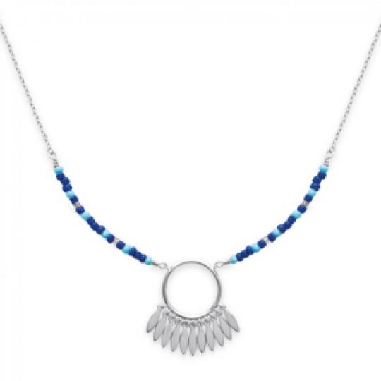 Collier Attrape-rêves bleu Argent Rhodié - Dreamcatcher -...