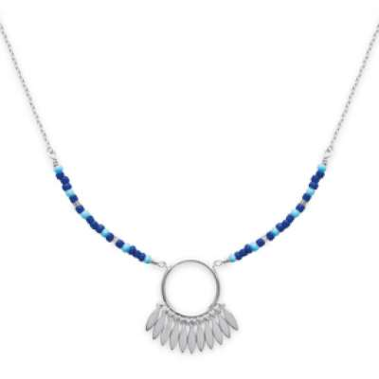 Halskette Traumfänger bleu Argent Rhodié - Dreamcatcher -...
