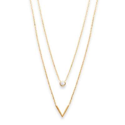 Necklace double en V Gold plated 18k - Cubic Zirconia -...