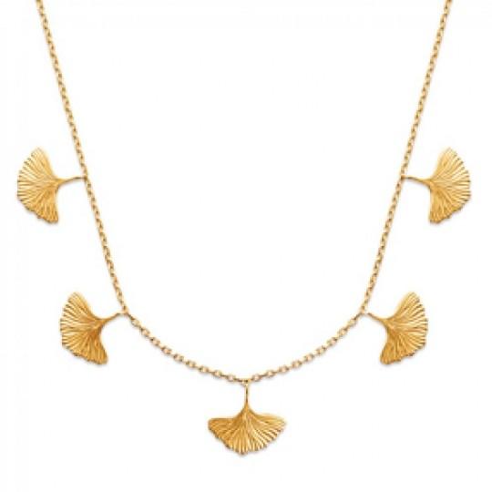 Halskette Feuilles de Ginkgo biloba Vergoldet 18k - Damen...