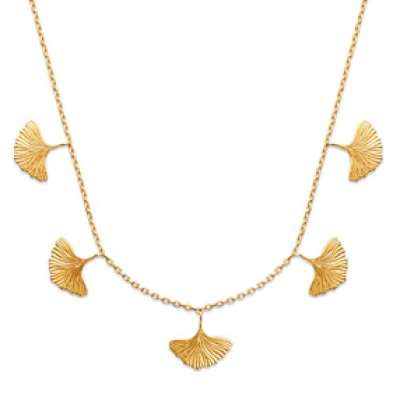 Necklace Feuilles de Ginkgo biloba Gold plated 18k -...