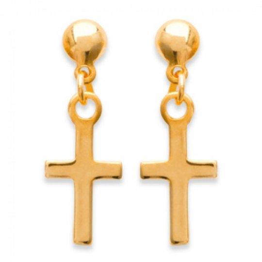 Earrings Christian cross catholique Gold plated 18k - Women