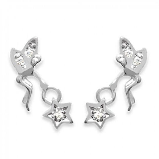 Boucles d'Oreilles Fée étoile Argent Rhodié zirconium