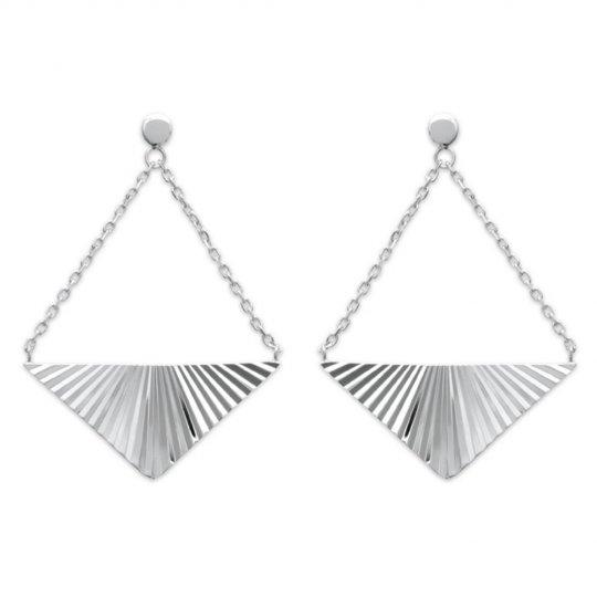 Boucles d'Oreilles Triangle reflets Argent Rhodié - Femme