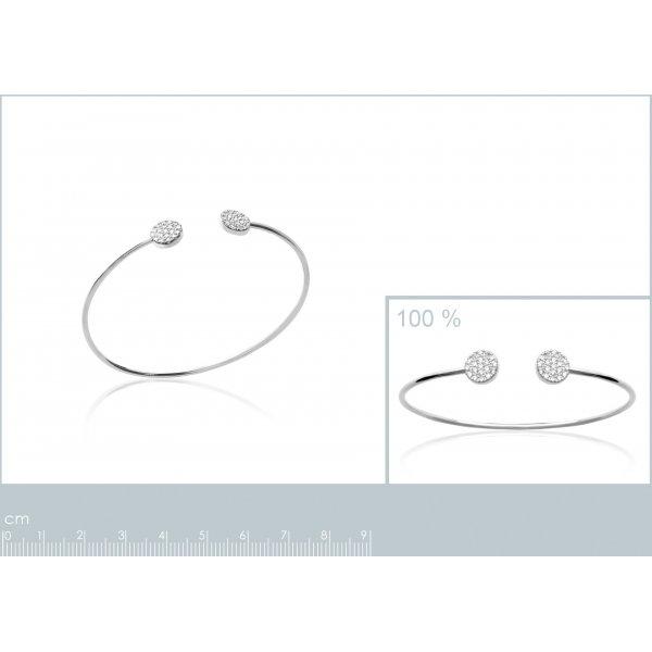 Bracciale Bangle Ouvert Petits Cercles Argent Rhodié - Zirconia Cubica - Donna - 56mm