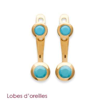 Dessous de lobes Pierre Bleue Gold plated 18k - Women