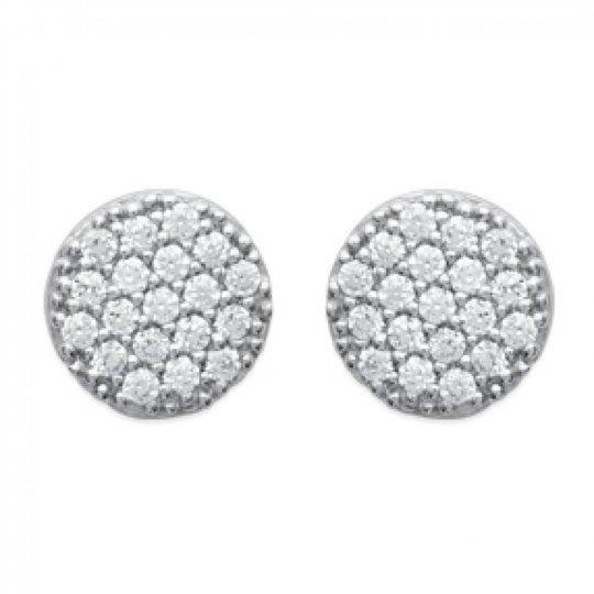Earrings puces Rondes Brillantes Argent Rhodié - Zirconium