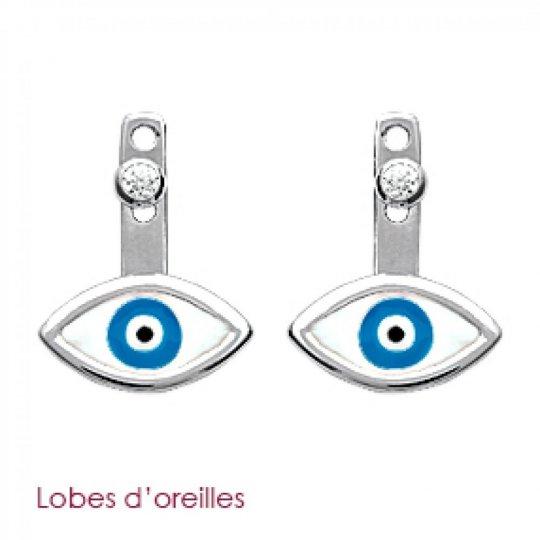 Boucles d'Oreilles Mauvaise Oeil bleu de Turquie Argent...