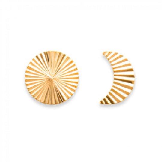 Earrings puces Lune et Soleil avec Reflets Gold plated 18k