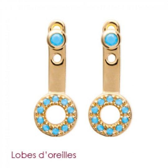 Boucles d'Oreilles Petit anneau pierre d'imitation Bleue turquoise sous lobe Plaqué Or